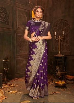Sonorous Purple Weaving Classic Saree