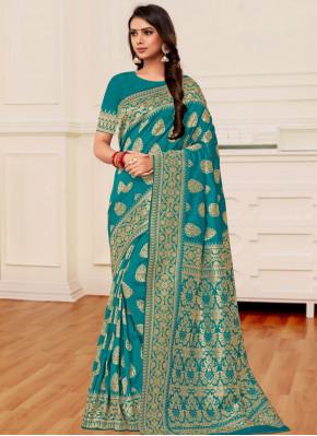 Sophisticated Banarasi Silk Teal Weaving Classic Saree