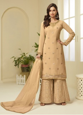 Sophisticated Embroidered Faux Georgette Designer Palazzo Suit