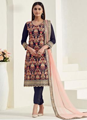 Sophisticated Georgette Blue Thread Salwar Kameez