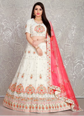 Sophisticated Georgette Thread White Trendy Lehenga Choli