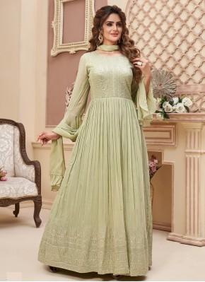 Sophisticated Lucknowi work Chiffon Ankle Length Anarkali Salwaar Suit for Mehndi