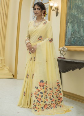 Sophisticated Print Cotton Yellow Classic Designer Saree