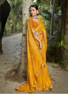 Sorcerous Abstract Print Yellow Faux Chiffon Printed Saree