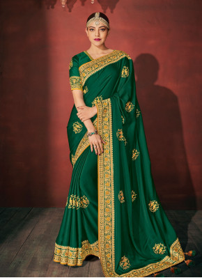 Sorcerous Green Silk Classic Saree
