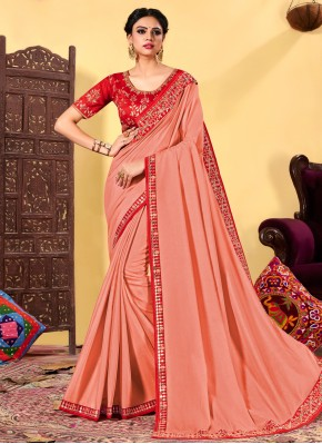 Sorcerous Pink Embroidered Traditional Designer Saree