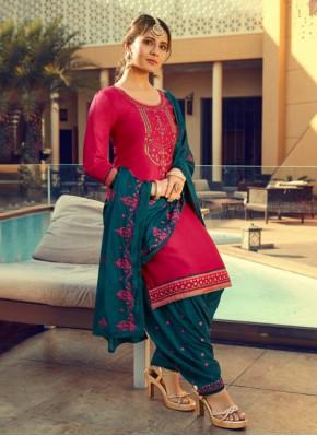 Sorcerous Print Pink Cotton Silk Patiala Suit