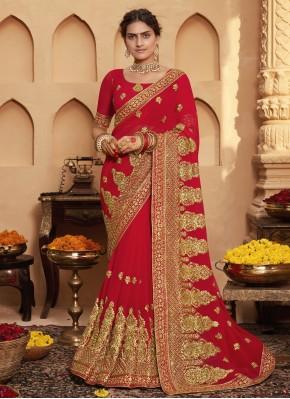 Sorcerous Red Classic Designer Saree