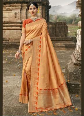 Sparkling Banarasi Silk Fancy Orange Designer Traditional Saree