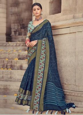 Sparkling Cotton Silk Navy Blue Printed Saree