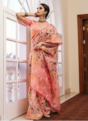 Sparkling Pink Festival Printed Saree