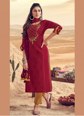Sparkling Polly Cotton Embroidered Maroon Pant Style Suit