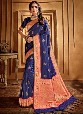 Sparkling Silk Weaving Navy Blue Bollywood Saree