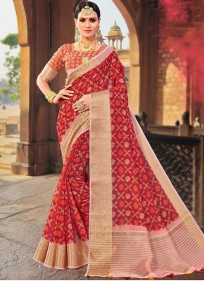 Sparkling Weaving Red Designer Traditional Saree