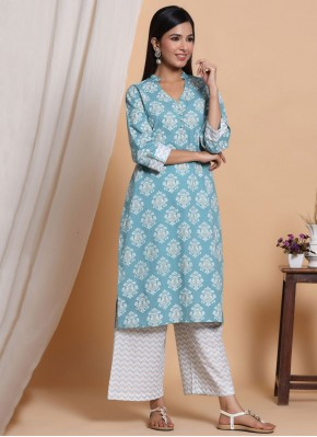 Specialised Blue Cotton Party Wear Kurti