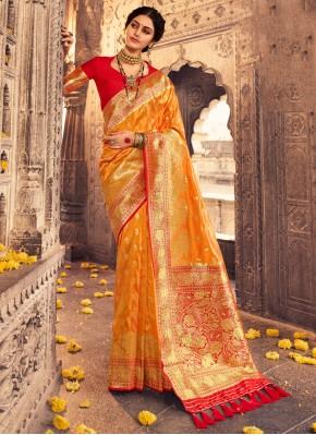 Specialised Fancy Banarasi Silk Orange Traditional Designer Saree