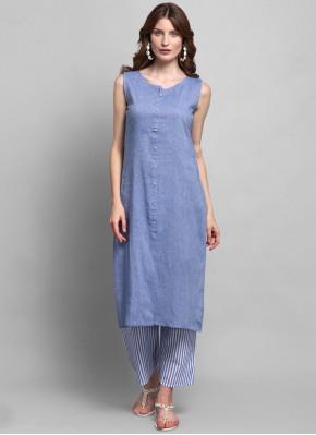 Specialised Fancy Blue Cotton Party Wear Kurti