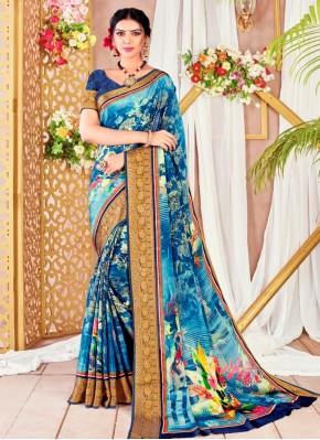Specialised Faux Chiffon Digital Print Printed Saree