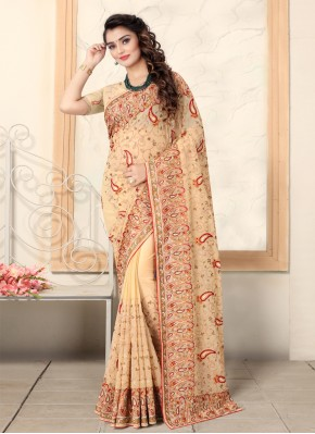 Specialised Georgette Embroidered Brown Contemporary Saree
