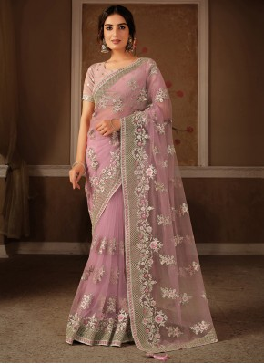 Specialised Net Embroidered Pink Trendy Saree