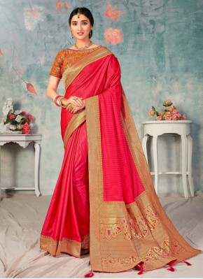 Specialised Pink Embroidered Poly Silk Traditional Designer Saree