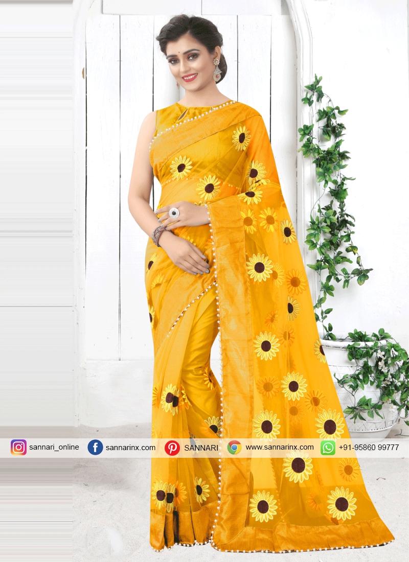 Specialised Print Yellow Printed Saree