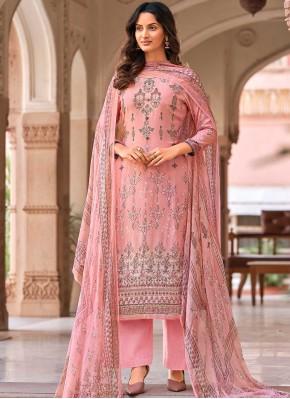 Spectacular Digital Print Pink Designer Palazzo Suit