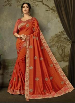 Spectacular Embroidered Silk Orange Designer Saree