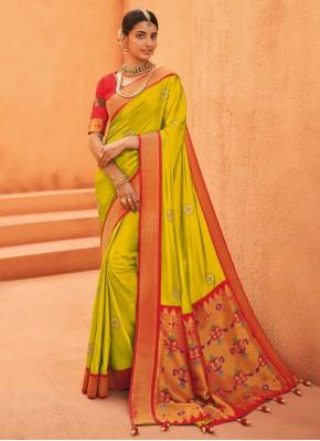 Spectacular Green Weaving Silk Traditional Designer Saree