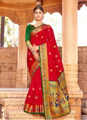 Spectacular Handloom silk Red Weaving Traditional Designer Saree