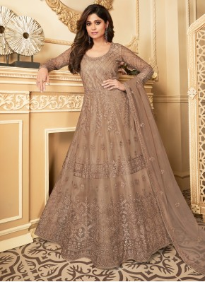 Spectacular Net Brown Resham Salwar Kameez