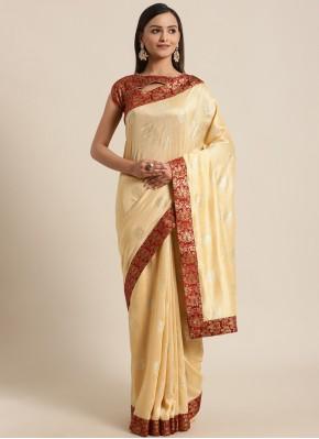Spectacular Silk Cream Foil Print Traditional Saree
