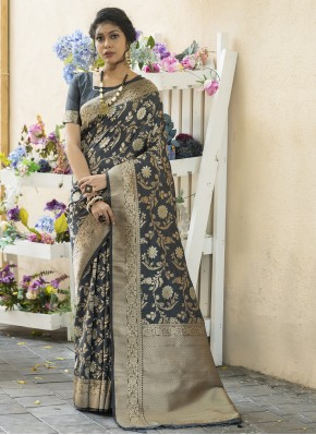 Spellbinding Black Weaving Banarasi Silk Designer Traditional Saree