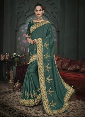 Spellbinding Fancy Fabric Green Classic Designer Saree
