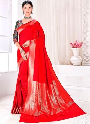 Spellbinding Fancy Jacquard Silk Traditional Designer Saree