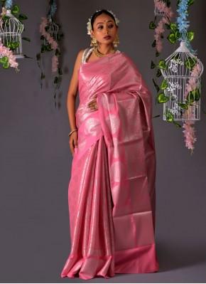 Spellbinding Silk Pink Traditional Saree