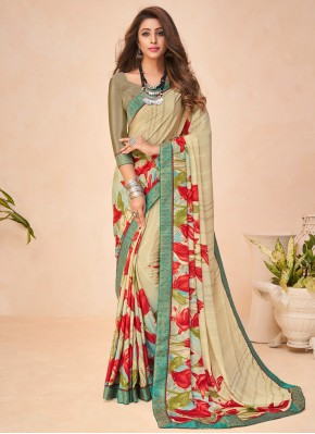 Splendid Faux Crepe Printed Saree