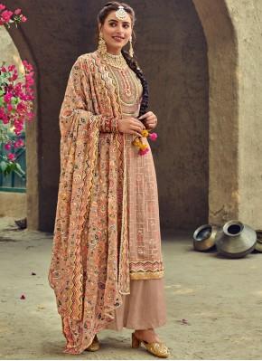 Splendid Faux Georgette Brown Trendy Salwar Suit