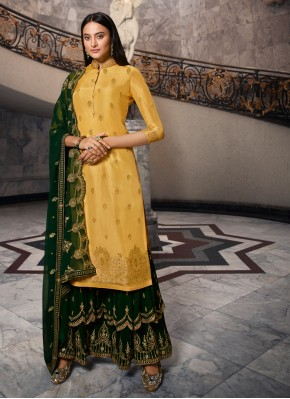 Splendid Georgette Yellow Bollywood Salwar Kameez
