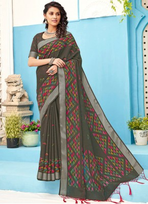 Splendid Grey Designer Saree