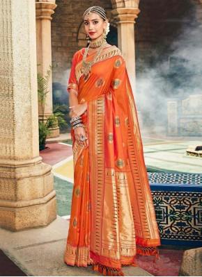 Splendid Orange Weaving Traditional Designer Saree