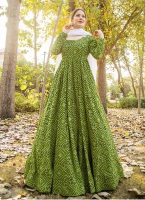 Splendid Print Green Muslin Readymade Suit