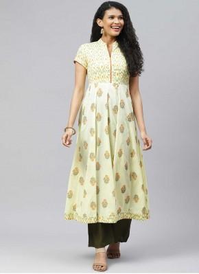 Splendid Print Yellow Designer Kurti