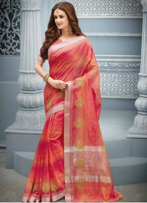 Splendid Resham Hot Pink and Orange Cotton Classic Saree