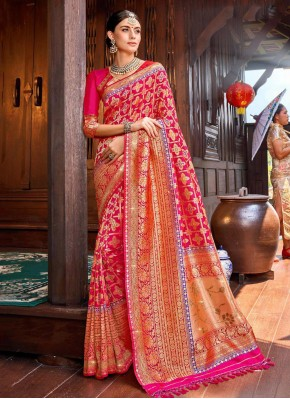 Splendid Weaving Silk Pink Contemporary Saree