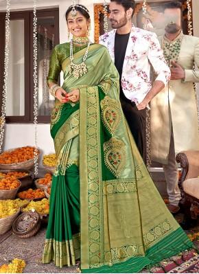 Staggering Banarasi Silk Green Designer Saree