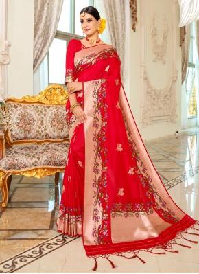 Staggering Banarasi Silk Red Traditional Designer Saree