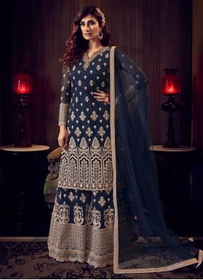 Staggering Embroidered Blue Trendy Salwar Kameez