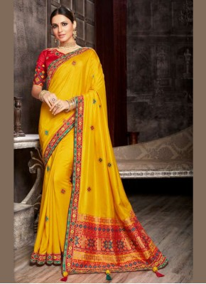 Staggering Patch Border Fancy Fabric Yellow Designer Saree