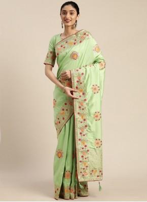 Staggering Sea Green Silk Designer Traditional Saree